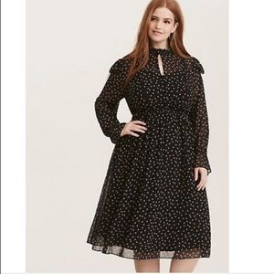 Torrid Black Star Long Sleeve chiffon Ruffle Dress